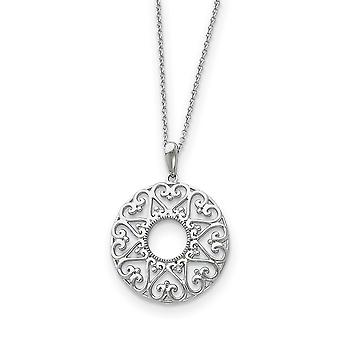 925 Sterling Silver Polished Gift Boxed Spring Ring Rhodium plated Necklace 18 Inch Jewelry Gifts for Women