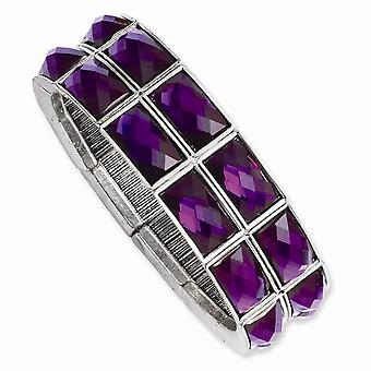 Silver tone Purple Epoxy Stones Stretch Bracelet Jewelry Gifts for Women - 48.5 Grams