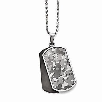 Stainless Steel Polished Black Ip plated 0.015ct. Diamond Necklace  24 Inch Jewelry Gifts for Women