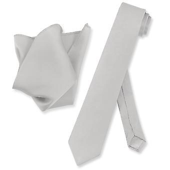 Biagio 100% Silk Skinny NeckTie Solid Mens Neck Tie & Handkerchief