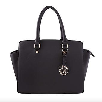 Wide håndtaske Saffiano-sort
