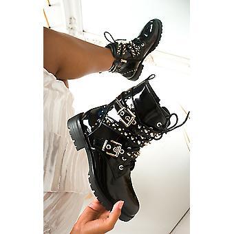IKRUSH النساء بليك باكل مرصع أحذية راكب الدراجة النارية