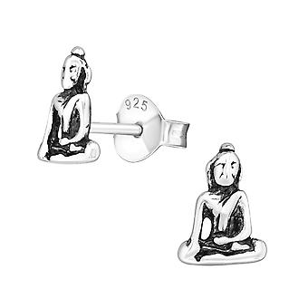 Buddha - 925 Sterling Silber Plain Ohrstecker - W10383X
