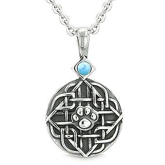 Amulet keltiske skjold knude Baby ulv eller katten pote simuleret turkis beskyttelse vedhæng halskæde