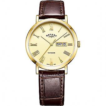 Rotary GS05303-09 Windsor Gold Tone Día Fecha Reloj de pulsera