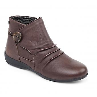 Padders Carnaby Ladies Leather Extra Wide (2e) Boots Brown