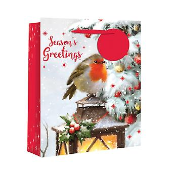 Eurowrap Christmas Wide Gusset Gift Bags with Traditional Robin Design (Pack of 12)