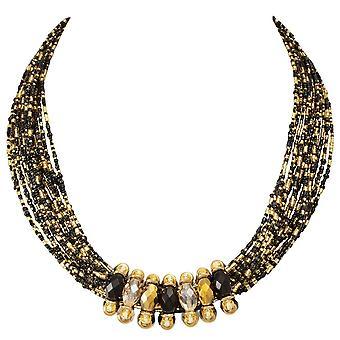 Eeuwige collectie Luciana zwart en goud verklaring Venetiaanse Murano glas Torsade ketting