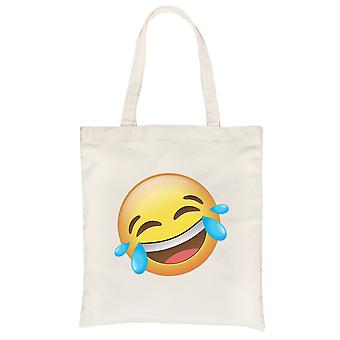 Emoji-laughing natural lona hombro bolso tonto regalo de Halloween