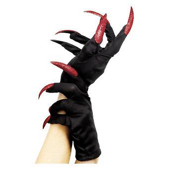 Womens Black Halloween gants avec clous déguisements accessoire