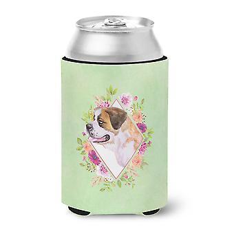 Saint Bernard #1 Green Flowers Can or Bottle Hugger