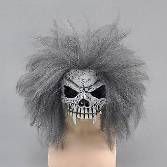 Mezza maschera teschio + capelli.