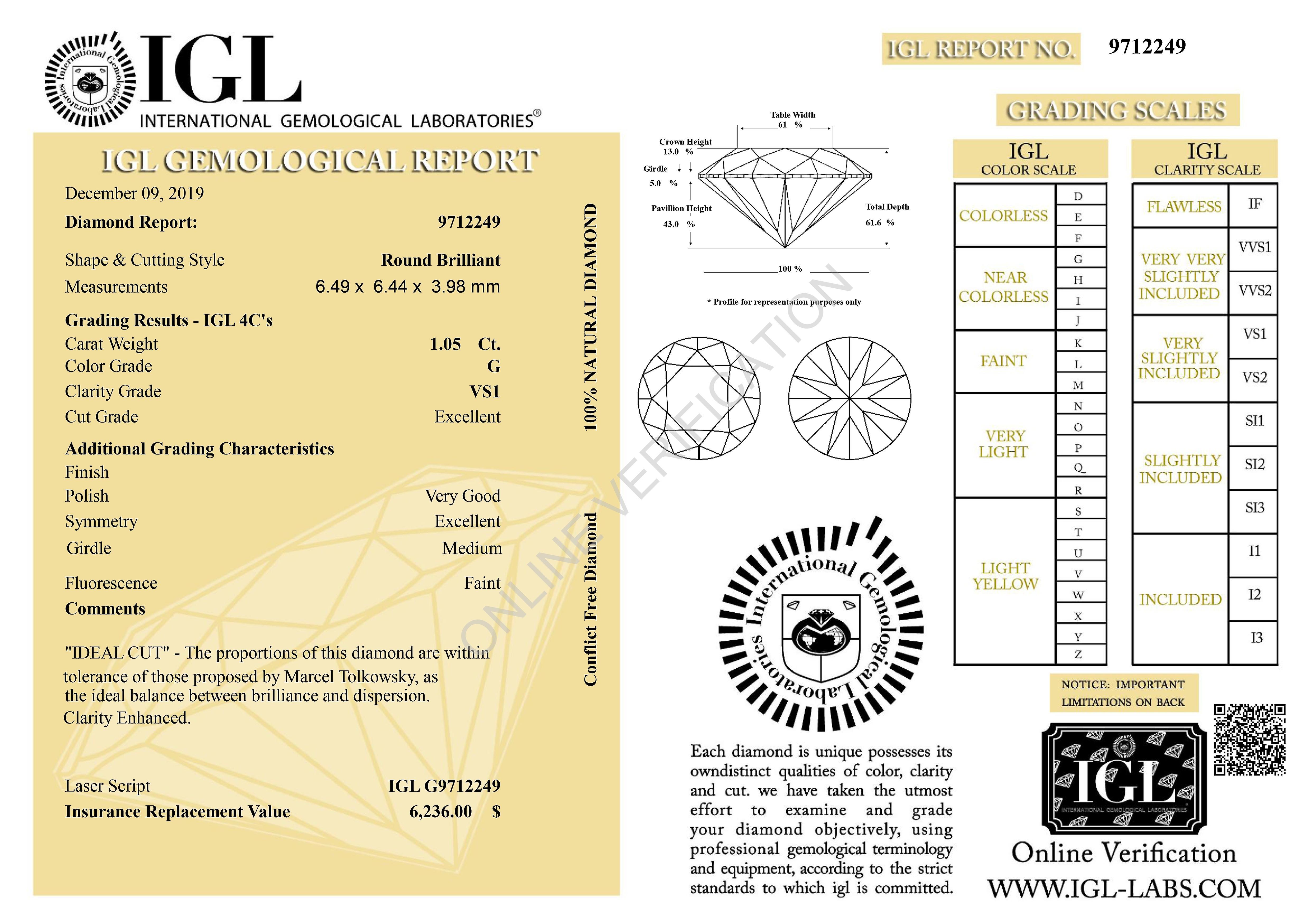Certified 1.05 Carat G VS1 Round Brilliant Enhanced Natural Diamond 6.49m EX CUT