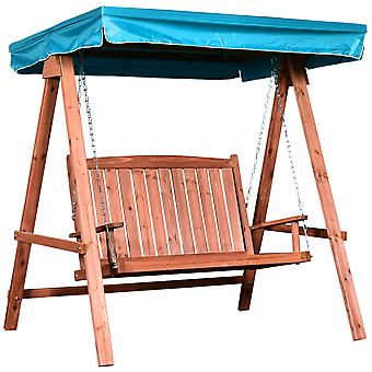 Outsunny 2 Seater Wooden Garden Swing Chair Outdoor Seat Loveseat Furniture Hammock Bench w/ Canopy Blue