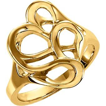 14k Yellow Gold Polished Metal Fashion Ring  Size 6.5 Jewelry Gifts for Women - 5.1 Grams