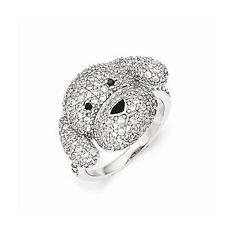 Cheryl M 925 Sterling Silver Enameled Black and White CZ Cubic Zirconia Simulated Diamond Puppy Ring Jewelry Gifts for W