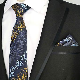 Purple oat yellow aubergine pattern pocket square & tie