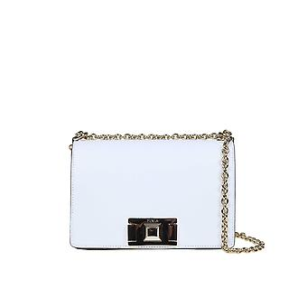 Furla 1031796 Women's White Leather Shoulder Bag