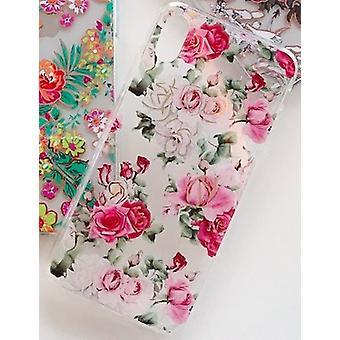Mobile Schale für iPhone X/XS in schönem Muster mit rosa Rosen