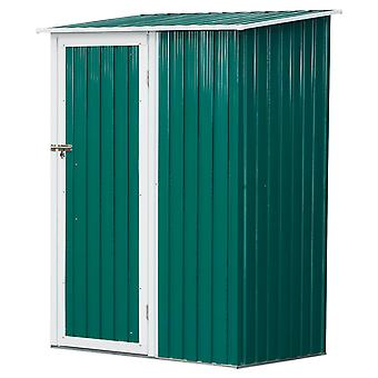 Outsunny 186x143cm Corrugated Steel Garden Shed Outdoor Equipment Tool Storage Sloped Roof Tall Door w/ Latch Weather-Resistant Paint Green
