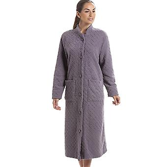 Camille Soft Fleece Grey Floral Full Length Button Up House Coat