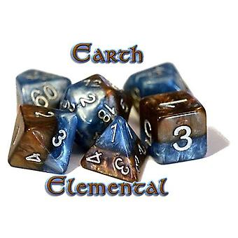 Halfsies Dice - Earth Elemental Polyhedral (Poly 7 Set)