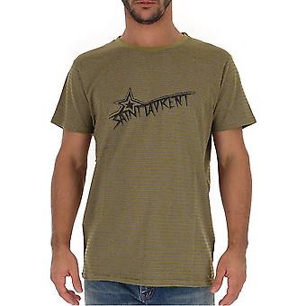 Saint Laurent 579056ybiw21370 Men's Green Cotton T-shirt