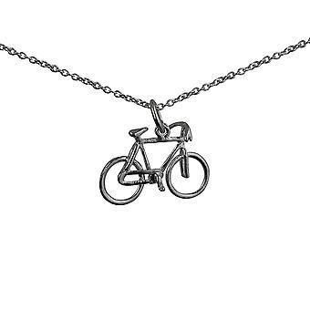 Silver 12x20mm cykel hänge med en rolo Chain 24 inches