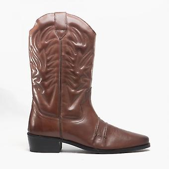 Woodland Kansas Mens Calf Length Leather Cowboy Boots Brown
