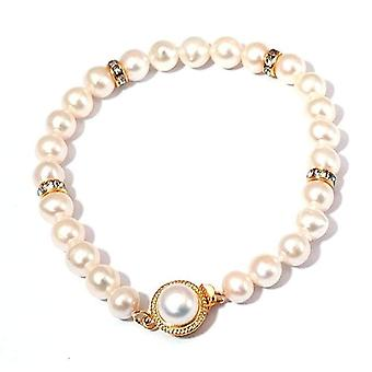Toc Bleached White Freshwater Cultured Pearl Bracelet 7.5