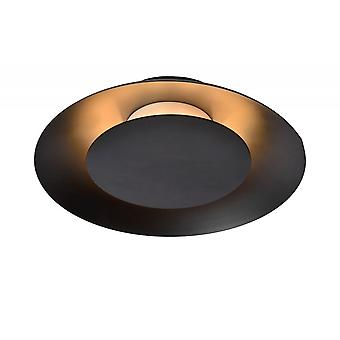 Lucide Foskal Modern Round Metal Black Flush Ceiling Light