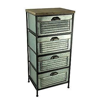 Galvanized Metal Wood Topped 4 Drawer Storage Cabinet