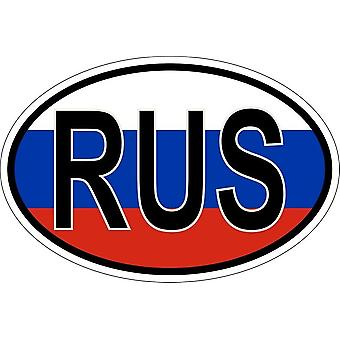 Naklejka naklejka owalny owalny flaga kraj kod RUS Rosja