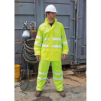 Wynik ochronnych Unisex wysokiej widoczności wodoodporny komplet (kurtka i spodnie)