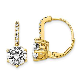 8.42mm Cheryl M 925 Sterling Silver and 14k Gold Plated CZ Cubic Zirconia Simulated Diamond Leverback Earrings Jewelry G