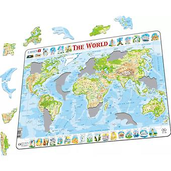 Larsen Jigsaw Puzzle - The World Physical Map, 80 Piece