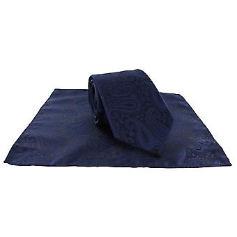 Michelsons of London Tonal Polyester Paisley Pocket Square and Tie Set - Navy