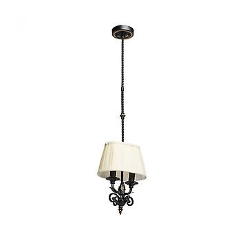 Country Black Pendant Light 2 Bulbs 135 Cm
