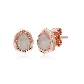 Irregular B Gem Rainbow Moonstone Stud Earrings in Rose Gold Plated Sterling Silver 271E021203925