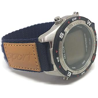Velcro watch strap navy 20mm with leather sport badge