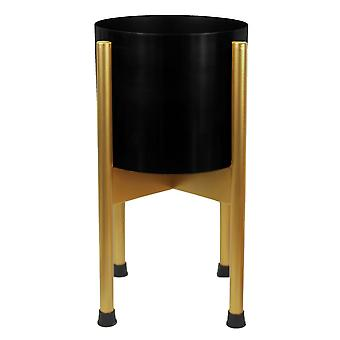 Medium Gold Stand with Black Metal Planter 38.5cm x 18cm