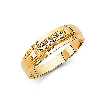 14k Yellow Gold CZ Cubic Zirconia Simulated Diamond Wedding Band For Men Ring Size 10 - 2.7 Grams