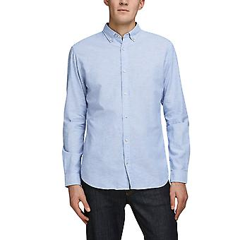 Jack & Jones Men's Button-Down Leinen Shirt Slim Fit Blau