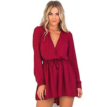 Womens Long Sleeve V-Ausschnitt Chiffon Playsuit