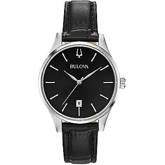 Bulova Watches 96m147 Classic Silver & Black Leather Ladies Watch