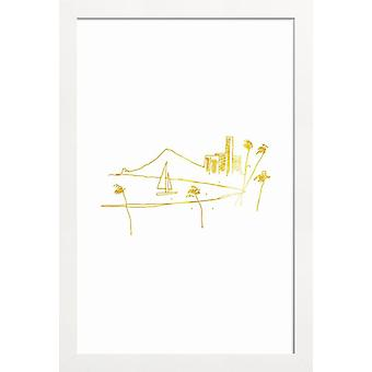 JUNIQE Print - Gold Hawaii - Stranden Poster in goud en wit