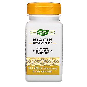 Natur's Way, Niacin, Vitamin B3, 100 mg, 100 kapslar