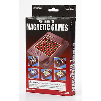 Games - Pressman Toy - 6-in-1 Travel Magnetic Games New 2261-06