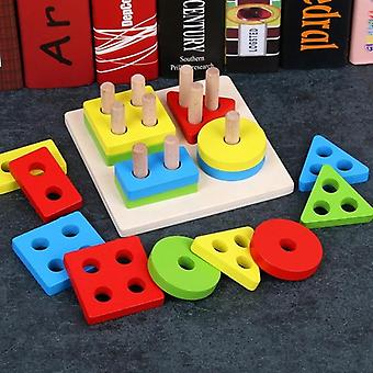 Wooden Geometric Sorting Board Montessori - Educational Stack Building Puzzle