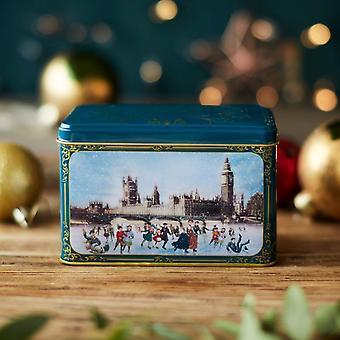 Lata de té de los patinadores de Navidad victoriano con 40 bolsitas de té inglés por la tarde